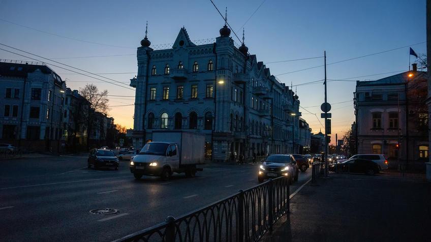 Дом Кекина в сумерки::Казань, улицы города. Сумерки. Октябрь 2020