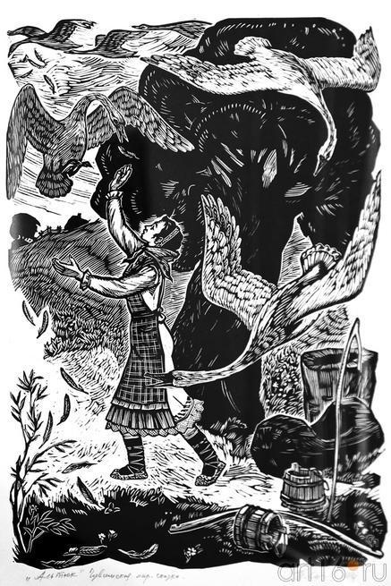 Иллюстрация к сказке ʺАльтюкʺ, 1974. Сизов П.В., 19221-1996, Народный художник Чувашии::Искусство чувашского народа