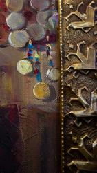 Фрагмент рамы и холста. Ожидание.  Григорян М.Г. 1962. Народный художник Чувашии