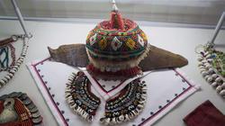 XIX Домотканый льняной холст, бисер, металл, кожа, вышивка (Собственность НМ РТ)/Ткань, ручная вышивка...