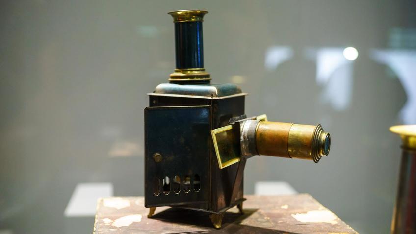 Волшебный фонарь в оригинальной коробке в полной комплектации с набором слайдов::Выставка анимационных игрушек «ПРЕСИНЕМА»